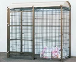 ゴミステーション 大型ゴミ箱 シコク ゴミストッカー LMF10型 引き戸式 アルミ屋根 アンカー式 GSM10-A4020 [自治会/町内会/設置/屋外/カラス/対策/猫/大容量/ごみ/ゴミ箱]