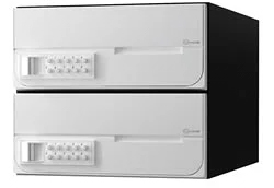 【2戸用】【本体樹脂製】ナスタ 大型郵便対応集合郵便受箱(ヨコ型) 前入前出 D-ALL 可変プッシュボタン錠 ホワイト KS-MB6002PY-2PK-W