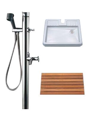 LIXIL ペット水栓柱+専用防水パン+すのこセット ※お客様組立品 【送料無料】