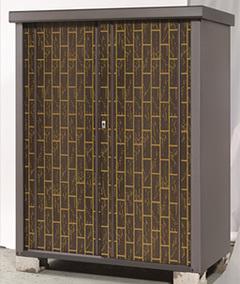 タカヤマ物置 ディープシリーズ TJS-1215TK-D 幅1200×奥行820×高さ1500mm 扉竹林柄 ダークブラウン お客様組立 エリア限定送料無料