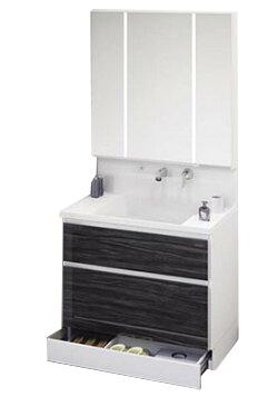 タカラ ホーロー洗面化粧台 ファミーユ 洗面本体 間口900mm 2段スライドタイプ+フェイスクリアミラー(3面鏡) 扉色ウォルナットブラック