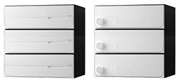 【2戸用】【本体樹脂製】ナスタ 大型郵便対応集合郵便受箱(ヨコ型) 前入後出 D-ALL 可変プッシュボタン錠 ホワイト KS-MB4102PY-2PK-W