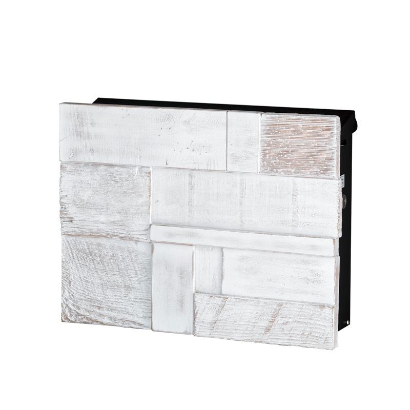 オンリーワン 壁付け郵便ポスト ノイエキューブ ブロックウッド ヴィンテージホワイト GM1-E6B1