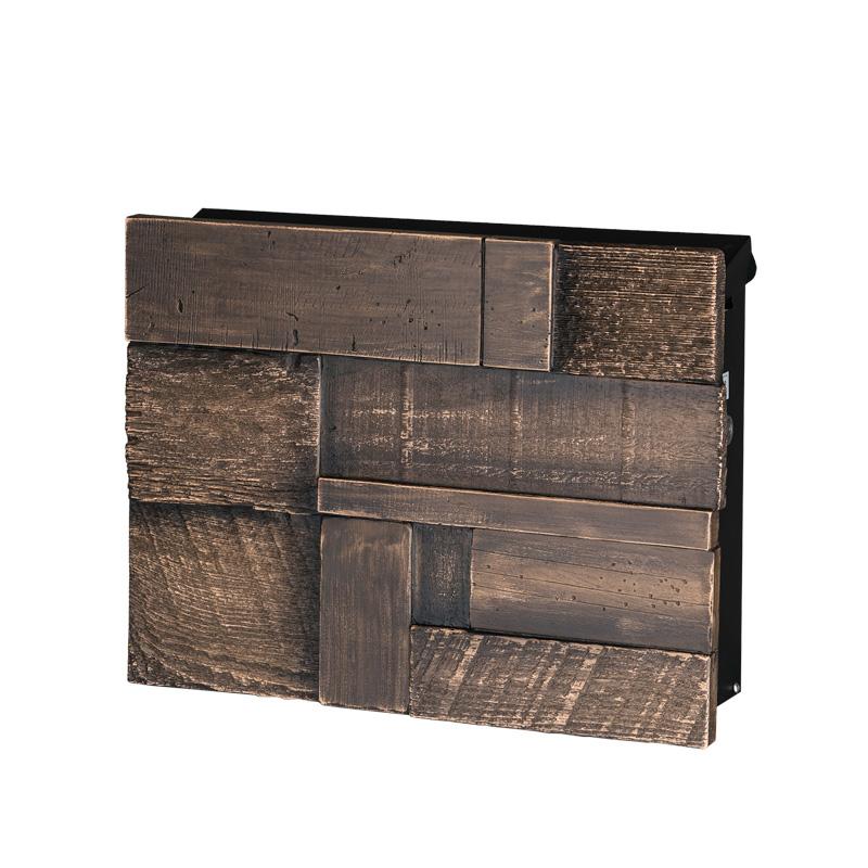 オンリーワン 壁付け郵便ポスト ノイエキューブ ブロックウッド ヴィンテージブラウン GM1-E6B3