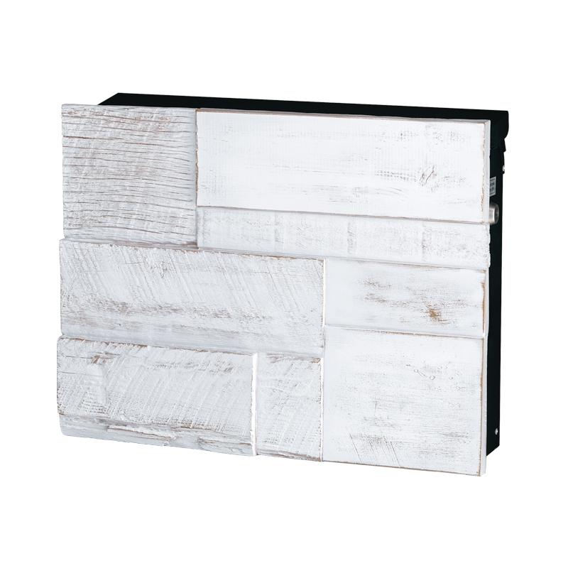オンリーワン 壁付け郵便ポスト ノイエキューブ グロース ブロックウッド ヴィンテージホワイト GM1-EGB1