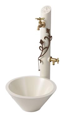 トーシン UN(アン)シリーズ 水栓柱一式セット (補助蛇口なし) 水栓柱フルール フラワー・ブロンズ SC-UN-FLUS-F-BR + ガーデンパン・フルールGPT-UN-FLU-WH + 蛇口(スミレハンドル) JA-DN13-SEセット
