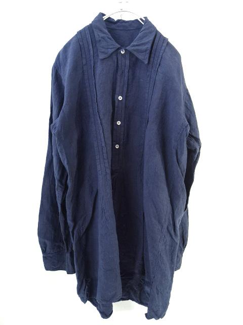 20210506 EURO VINTAGE ユーロ ヴィンテージ 爆買い新作 ヨーロッパ 古着 プルオーバー 長袖 送料無料/新品 グランパ ネイビー シャツ 中古