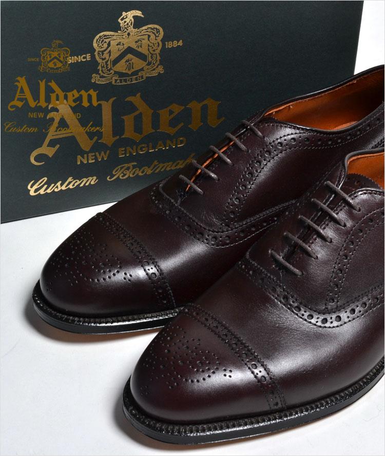 【送料無料】ALDEN 908 オールデン メダリオン CAP TOE チップ  Medallion Tip Bal Calfskin カーフスキン 本革 シューズ