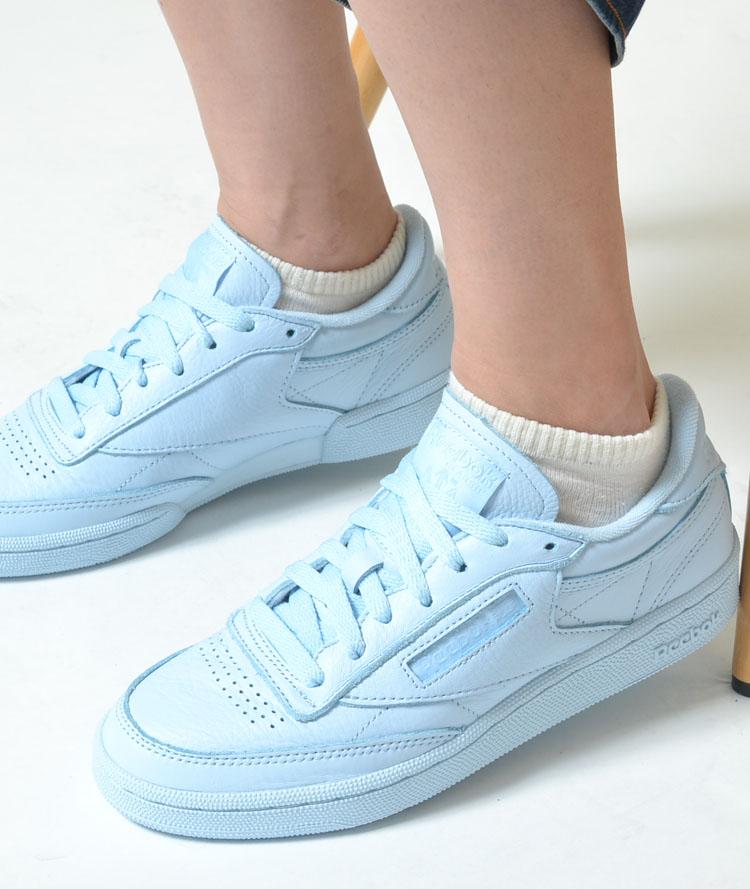 reebok pale blue club c 85 elm trainers