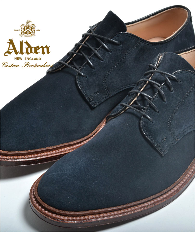 【訳あり】【送料無料】ALDEN SUEDE UNLINED PLAIN TOE BARRIE LAST SINGLE FLEXIBLE LEATHER SOLE オールデン ブルースエード 本革 シューズ 29331f