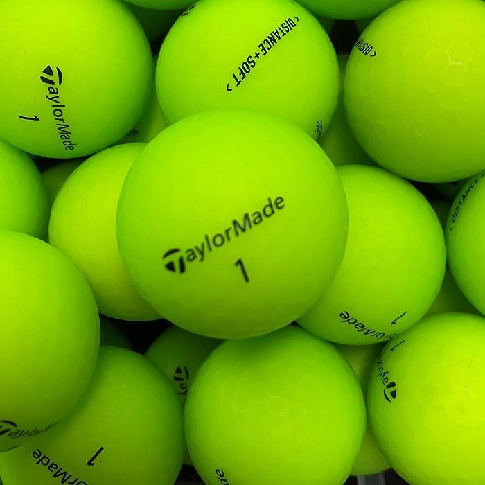 在庫処分 ロストボール テーラーメイド ショッピング ディスタンス TaylorMade DISTANCE + SOFT A+ABランク 24球 中古 マットグリーン ゴルフボール