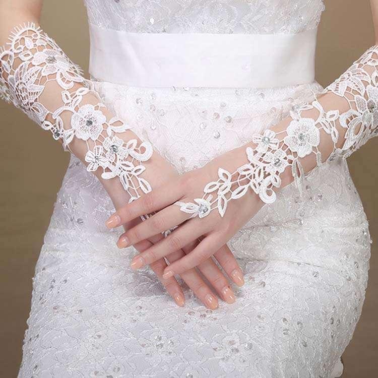 e30f7e95da1c0 ウェディンググローブ総レースビジュー飾りフィンガーレスグローブ手袋ブライダル刺繍ウェディング小物ウェディングドレス