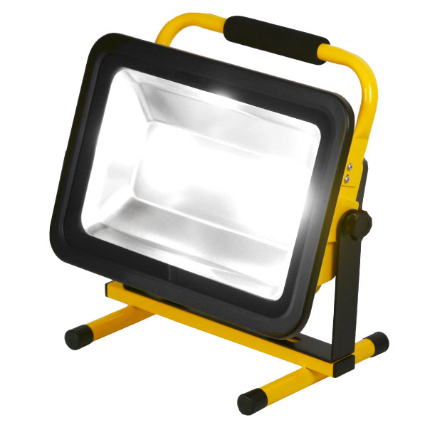 100W 充電式ポータブルLED投光器防水等級IP65 約3時間点灯光色[ホワイト]ボディカラー[イエロー]ワークライト【宅配便送料無料】