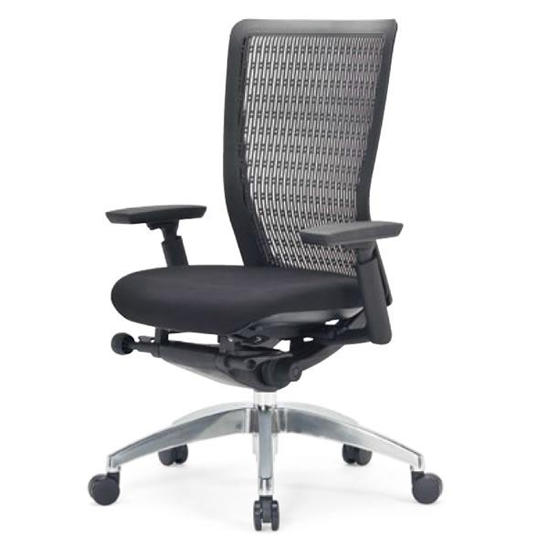 オフィスチェア ミドルバック 肘付き ブラック 背/樹脂メッシュ アルミ脚【R-5635】