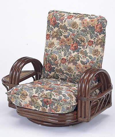 籐リクライニング回転座椅子 ロータイプ【I-S-697】