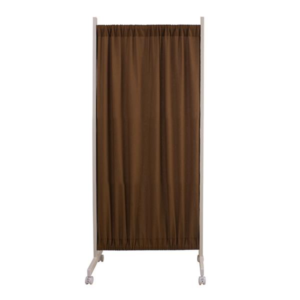 間仕切りカーテンパーテーション 幅64.5~115cm 高さ144.5cm ブラウン色【NSA-NJ-0103】