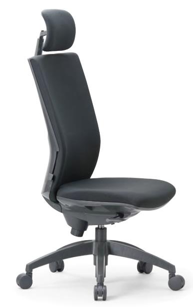 オフィスチェア ヘッドレスト付きハイバック 肘なしタイプ 防汚性布張り【OS-2265】