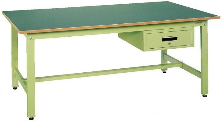 軽量作業台KKタイプ 深型キャビネット付 本体カラー:アイボリー W1800×D900×H740mm 耐荷重:350kg サカエリューム天板【KK-1890F1I】