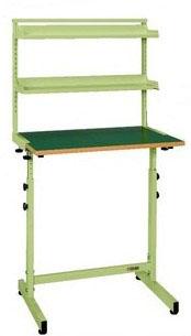 小型昇降作業台 棚板付き W750×D500×H1300~1500mm 耐荷重:20kg【KSS-3】