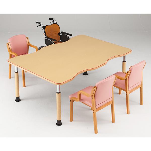 【福祉】介護用テーブル 凹型テーブル(キャスタータイプ) 幅1200mm×奥行1200mm×高さ600mm~800mm【MK-F1212C】