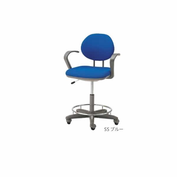 ノーリツイス 製図・オペレーター・カウンター用チェア 肘付 布張り ブルー【TEL-SD6AC】
