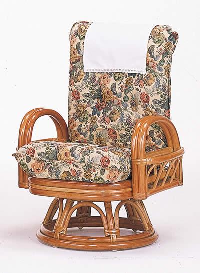 籐リクライニング回転座椅子 ハイタイプ【I-S-593】