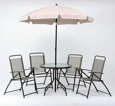 送料無料!日差しの角度に合わせて、パラソルの角度を調整することができます。 ガーデンテーブル・ガーデンチェアセット/ ガーデン6点セット KFSET-020 (79769)【F-79769】