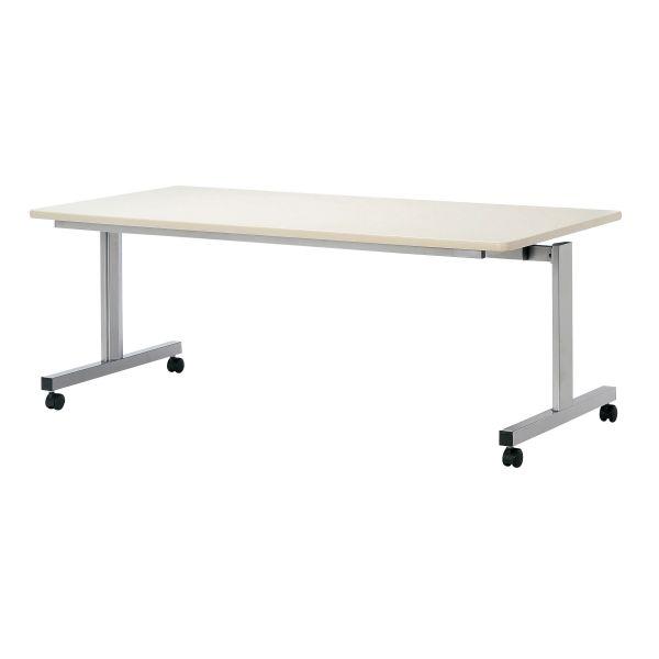 跳ね上げ式会議テーブル 幅1800×奥行き900mm シルバー塗装 キャスター付き 【国産】【AHK-1890S】