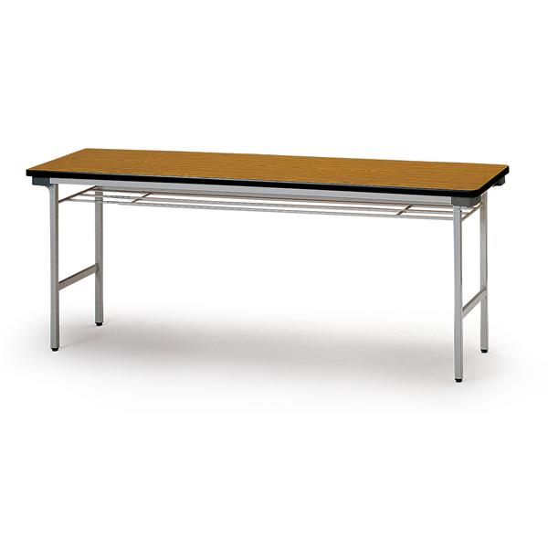 折り畳みテーブル【棚付】 スチール脚 幅1800mm×奥行750mm×高さ700mm【TF-1875】