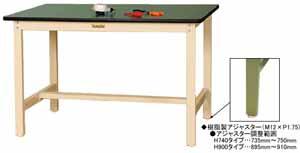 ワークテーブル 300シリーズ 固定式高さ900mm リノリューム天板 幅1500×奥行き900×高さ900mm【YAMA-SWRH-1590】