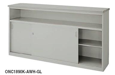 カウンター ONC型 ハイカウンター 鍵付 棚付タイプ 幅1500mm【ONC1590K-AWH】