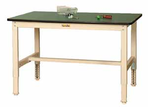 ワークテーブル 300シリーズ 高さ調整タイプ ポリエステル天板 幅1200×奥行き600×高さ600~900mm【YAMA-SWPA-1260】