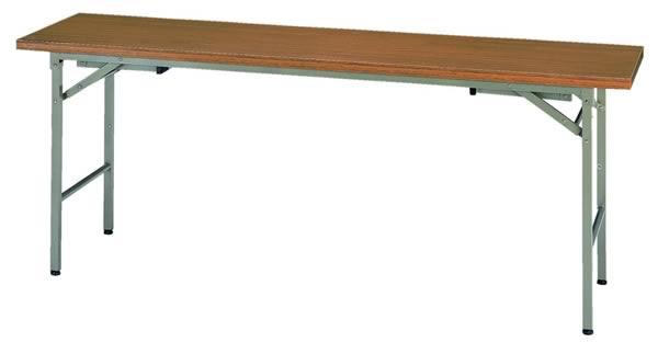 折りたたみ机(長机) 座卓兼用タイプ 1800×450mm チーク色【KRH1845NT】
