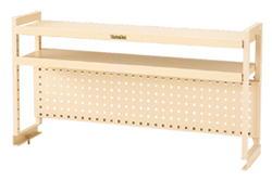 ワークテーブル架台 棚板2段+パンチングパネルタイプ グリーン 幅1811×奥行き300×高さ600mm【YAMA-WKP2-1800】