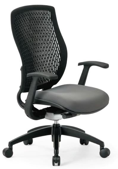 オフィスチェア ハイバック T型肘付き 樹脂メッシュバックチェア【MA-1535-FG3】