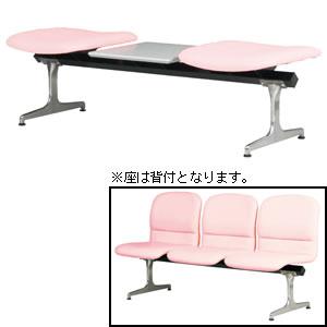 ロビーチェア(背付2人用テーブル付き) 合成皮革張り 【国産】【RD-KN52C】