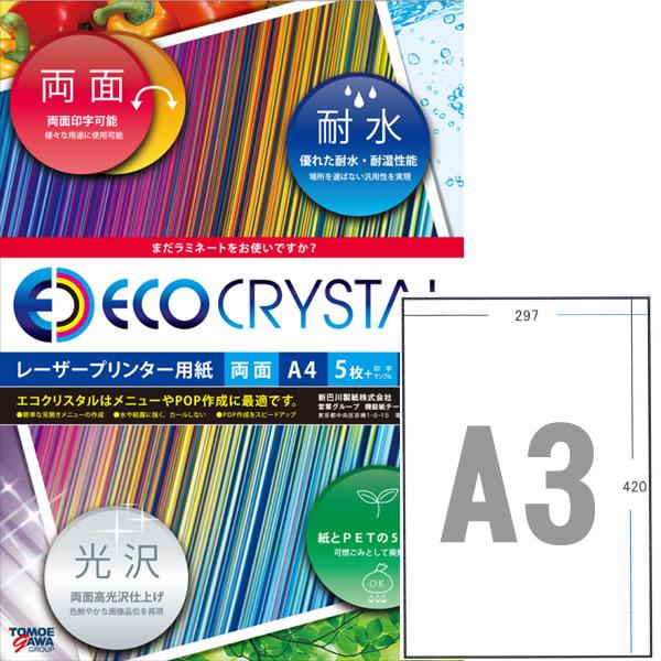 エコクリスタルペーパー レーザープリンタ用耐水紙 A3標準 250枚【TWD100A-A3G】