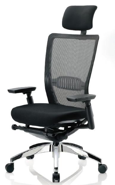 オフィスチェア ハイバック 肘付き ブラック 背/布メッシュ アルミ脚【R-5775】