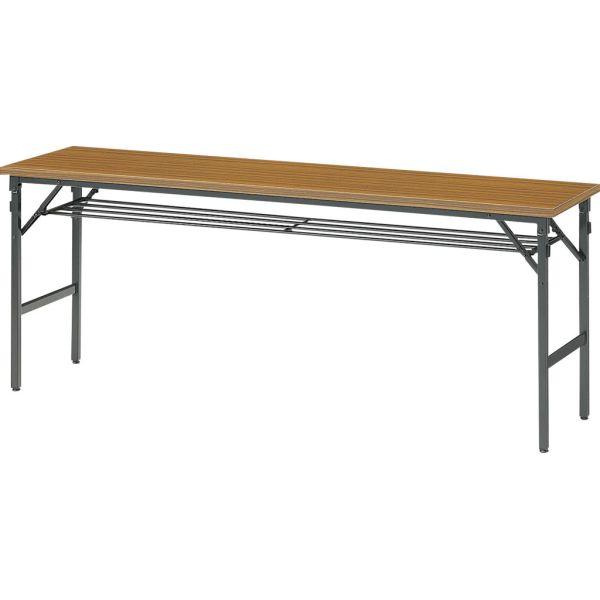 折畳みテーブル 45N 幅1800×奥行き450×高さ700mm チーク/ローズ【1-385-111-12】