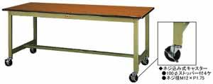 ワークテーブル 300シリーズ 移動式高さ740mm ポリエステル天板 幅1500×奥行き900×高さ740mm【YAMA-SWPC-1590】