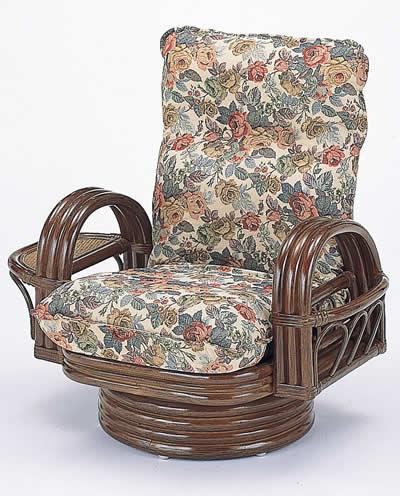 籐リクライニング回転座椅子 ミドルタイプ【I-S-698】