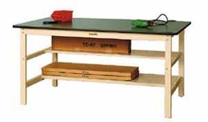 ワークテーブル 300シリーズ 半面中間棚付高さ740mm リノリューム天板 幅1800×奥行き900×高さ740mm【YAMA-SWR-1890TH】