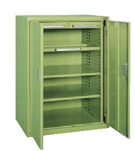 サカエ ミニ工具室(横ケント式) 均等耐荷重:棚板1段当り80kg・中引出し50kg・浅引出し35kg【K-K1001】