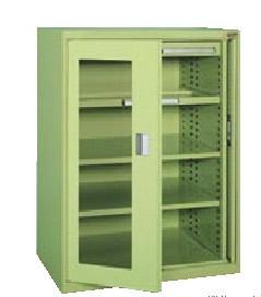 サカエ ミニ工具室(横ケント式) 均等耐荷重:棚板1段当り80kg・中引出し50kg・浅引出し35kg【K-K1001A】