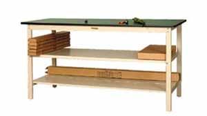 ワークテーブル 300シリーズ 全面中間棚付高さ740mm リノリューム天板 幅1800×奥行き900×高さ740mm【YAMA-SWR-1890TTF】