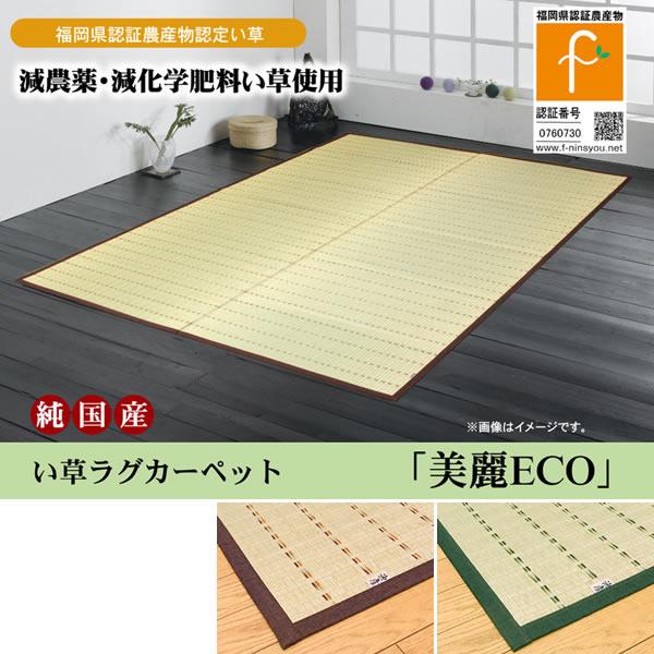福岡県認証農産物 掛川織 い草ラグカーペット 『美麗ECO』 グリーンのみ 約191×250cm【IK-8214480】
