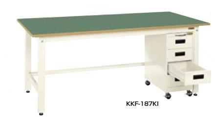 サカエ KK 軽量作業台 キャビネットワゴン付 アイボリー 均等耐荷重:350kg【KKF-187KI】