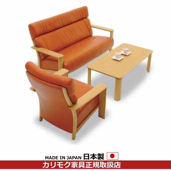 カリモク ソファセット/ WT41モデル 本革張(外側:合成皮革)椅子2点セット【COM オークD・G・S/リーベル】【WT4100WS-SET】