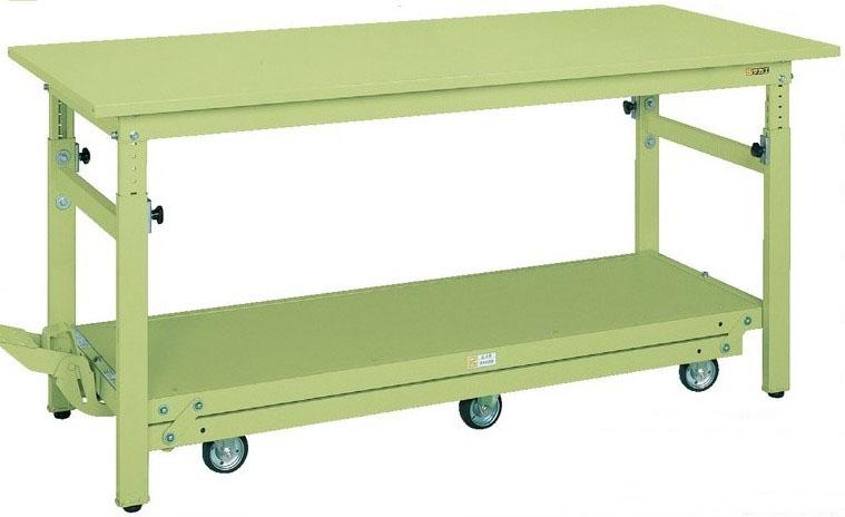 ペダル昇降移動式作業台(軽量TKKタイプ) W1800×D750×H740~1040mm 耐荷重:300kg【TKK-187Q6SPD】