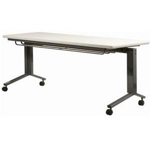 跳ね上げ式会議テーブル 幅1800×奥行き600mm ダークグレー塗装 キャスター付き 【国産】【AHK-1860】